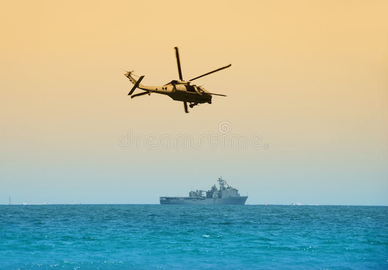 Military Helicopter On Patrol Stock Photography