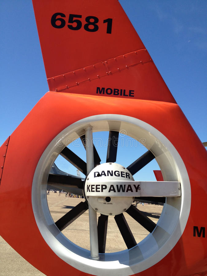 Military helicopter rotor with danger signage. Coast Guard helicopter at Arkansas air show stock photography