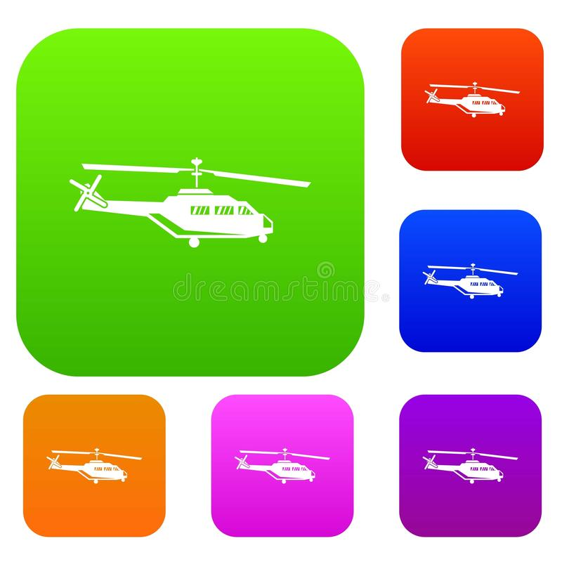Military helicopter set collection. Military helicopter set icon in different colors isolated vector illustration. Premium collection royalty free illustration