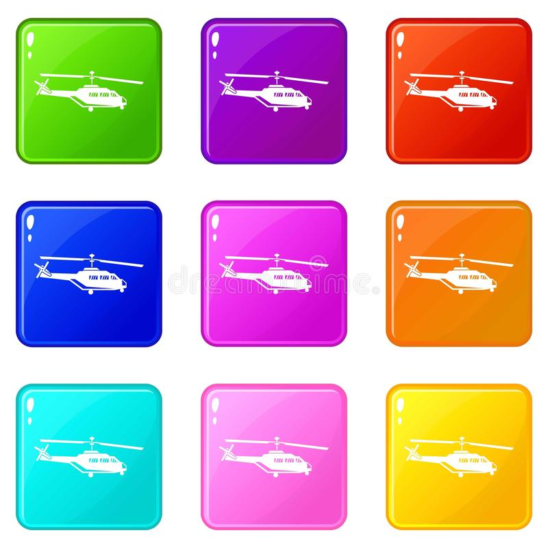 Military helicopter set 9. Military helicopter icons of 9 color set isolated vector illustration stock illustration