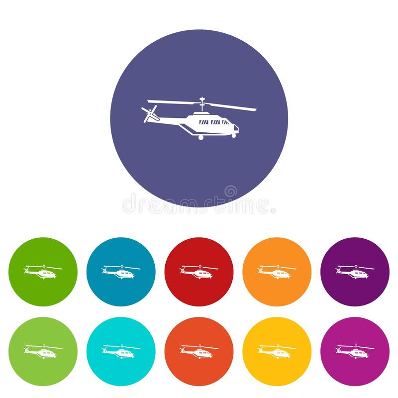 Military helicopter set icons. In different colors isolated on white background stock illustration
