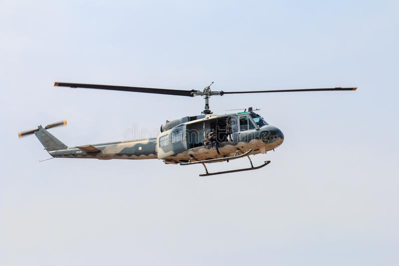 Military helicopter show on children`s Day in Chiang Mai,Thailand royalty free stock photography