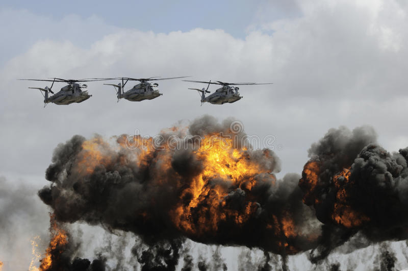 Military helicopters royalty free stock images