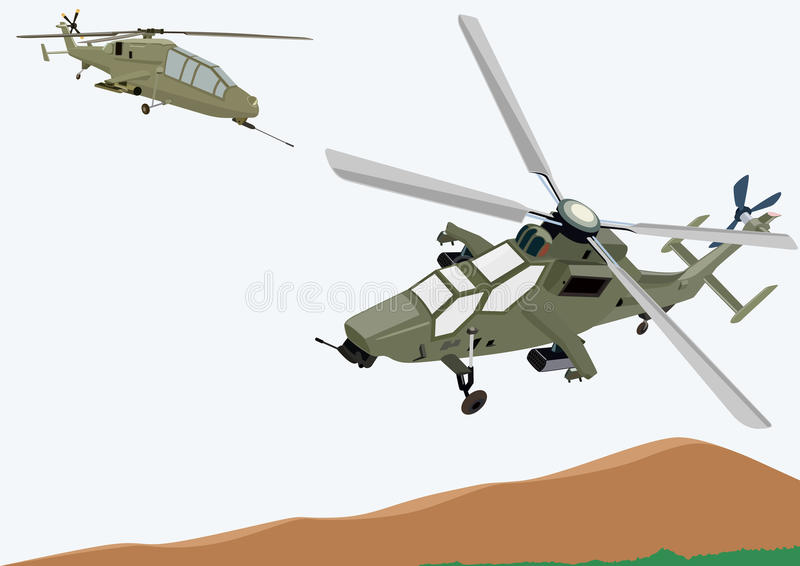 Download Military helicopters stock vector. Image of landscape - 17627115