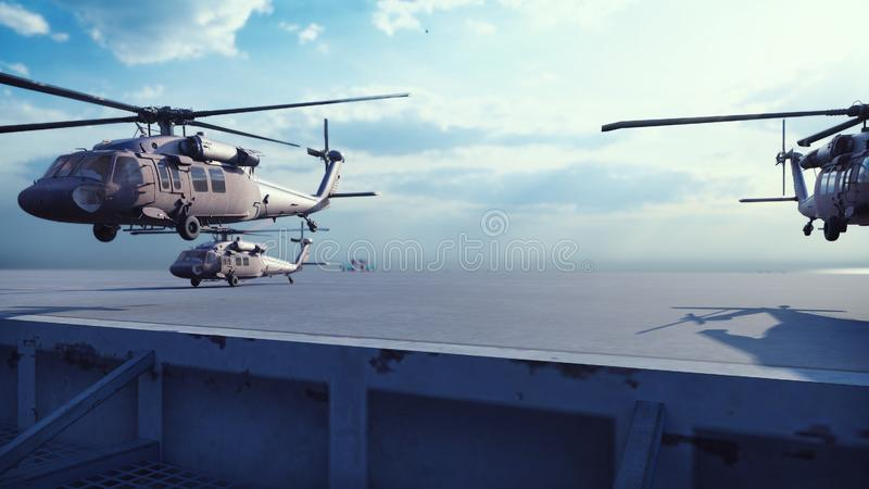 Military helicopters Blackhawk take off from an aircraft carrier at clear day in the endless blue sea. 3D Rendering. Military helicopters Blackhawk take off from stock illustration