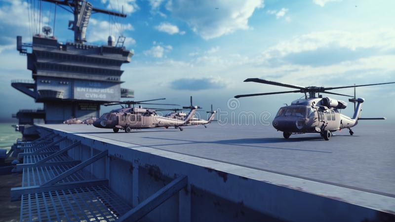 Military helicopters Blackhawk take off from an aircraft carrier at clear day in the endless blue sea. 3D Rendering. Military helicopters Blackhawk take off from royalty free illustration