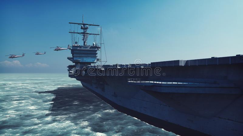 Military helicopters Blackhawk take off from an aircraft carrier at clear day in the endless sea. 3D Rendering. Military helicopters Blackhawk take off from an stock illustration