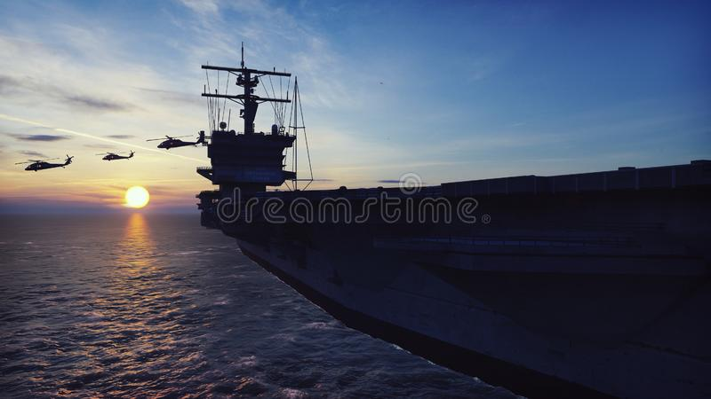 Military helicopters Blackhawk take off from an aircraft carrier at sunrise in the endless sea. 3D Rendering. Military helicopters Blackhawk take off from an stock illustration