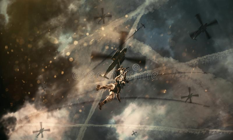 Military helicopters and forces in battlefield royalty free stock photos