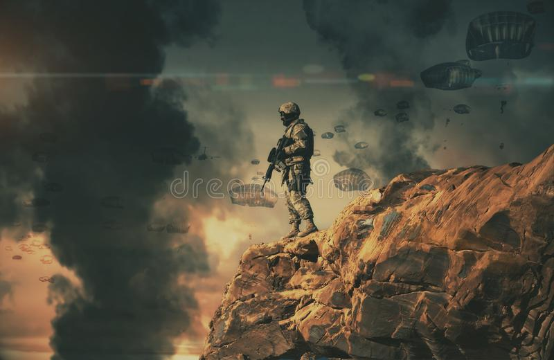 Military helicopters and forces in destroyed city royalty free stock photography