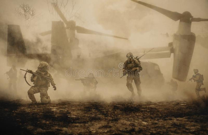 Military helicopters and forces between storm & dust royalty free stock photo