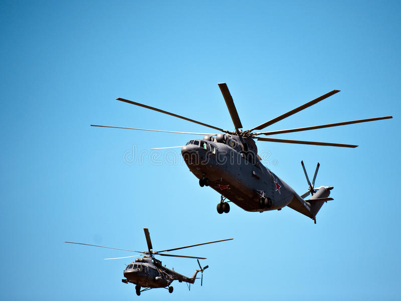 Military Helicopters, Moscow, Russia royalty free stock images