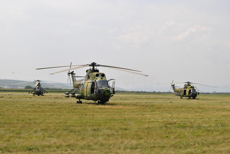 Military helicopters stock images