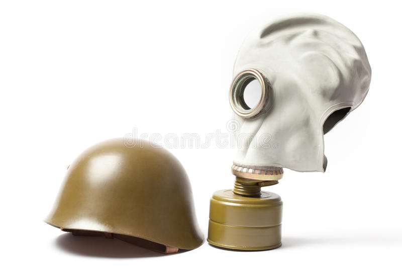 Military Helmet and Gas Mask royalty free stock images