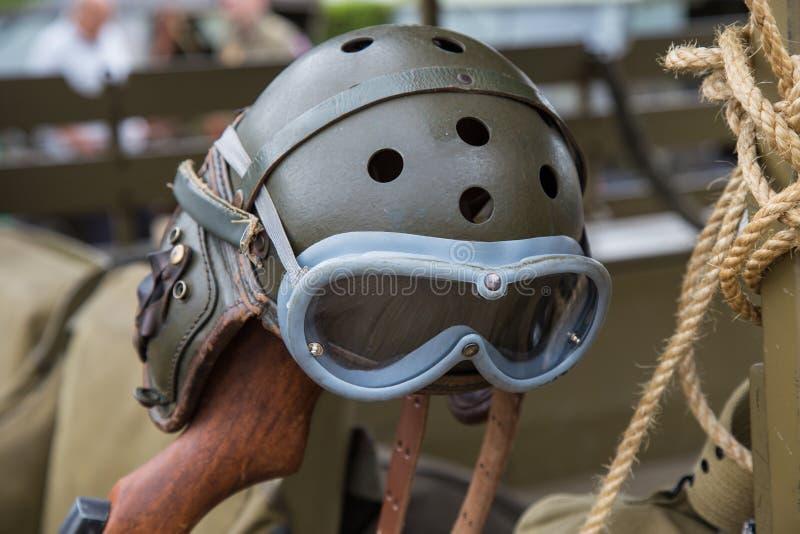 Military Helmet pilot of World War. II stock image