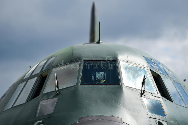 Military Hercules airplane on the runway royalty free stock photo