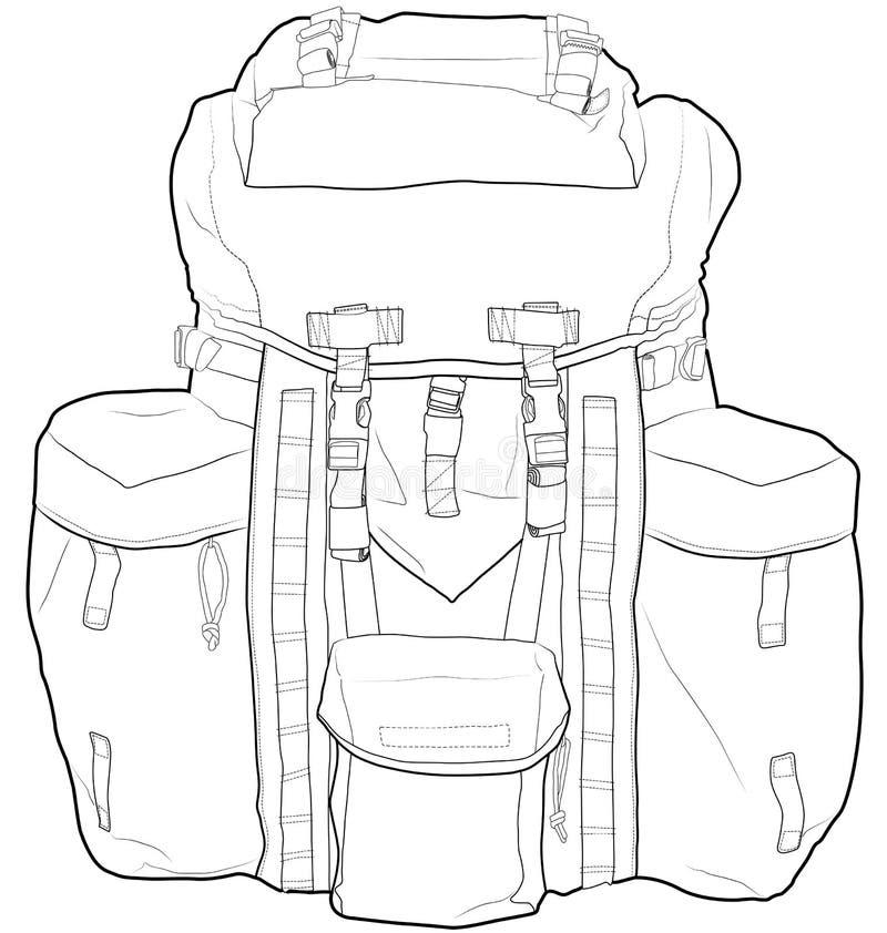 Military Or Hiking Backpack Outline Vector Illustr Stock Image