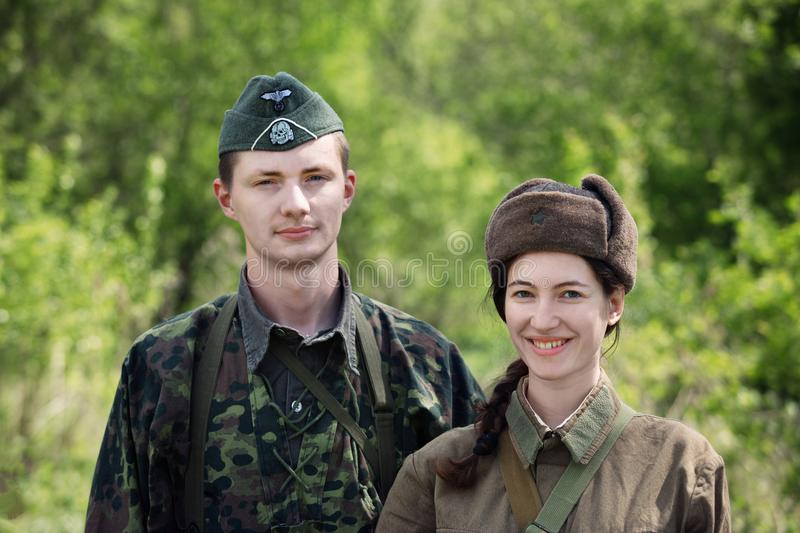 Military historical reenactment `Forgotten feat. Second shock army` royalty free stock image