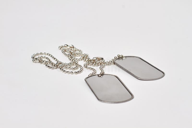 Military ID tags isolated on white background. royalty free stock photo