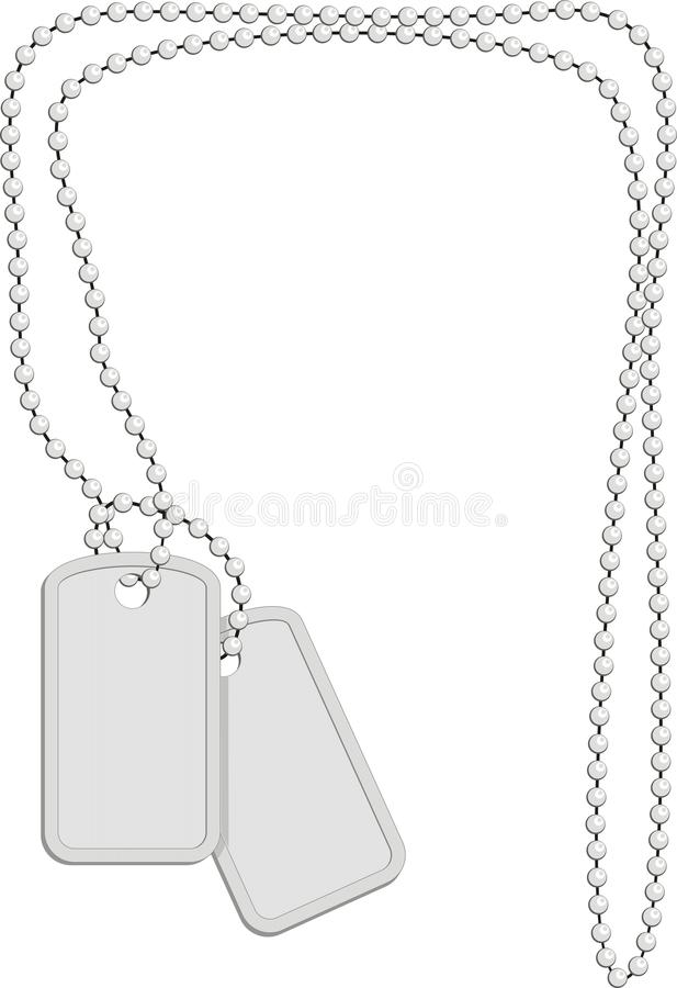 Military identity plates with metal chain. Military identity tags (dog tag, identity plates) with metal chain of spheres on white background isolated, vector royalty free illustration