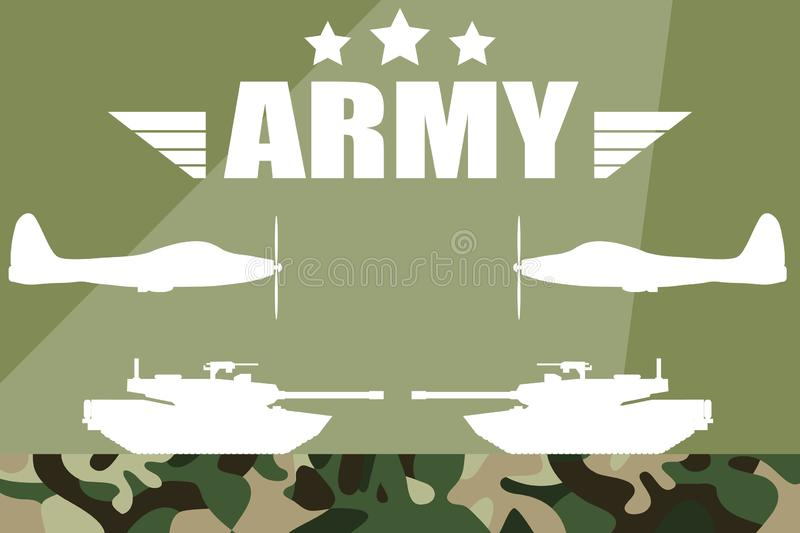 Military illustration. Military silhouettes background. Army and Air Force Vehicles. royalty free illustration