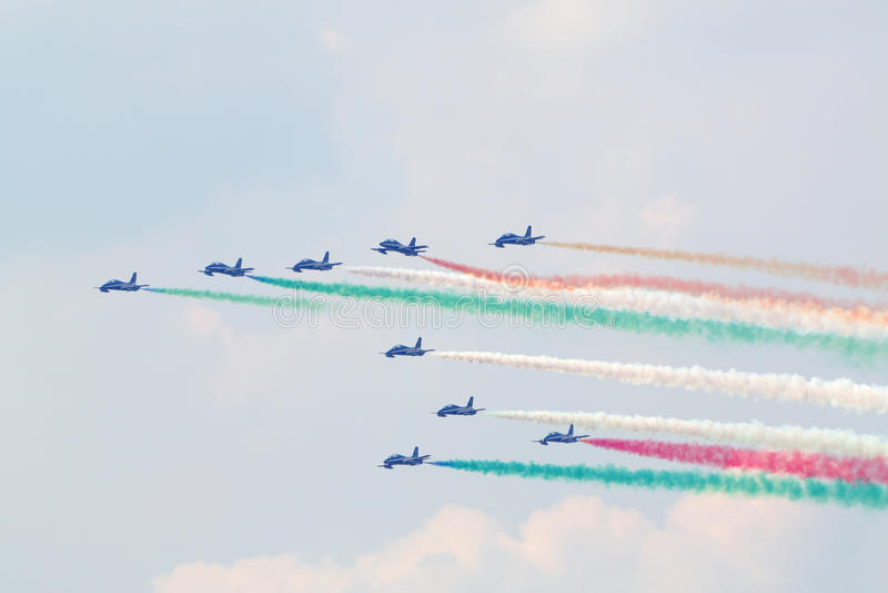 Military italian aircrafts let smoke royalty free stock photos