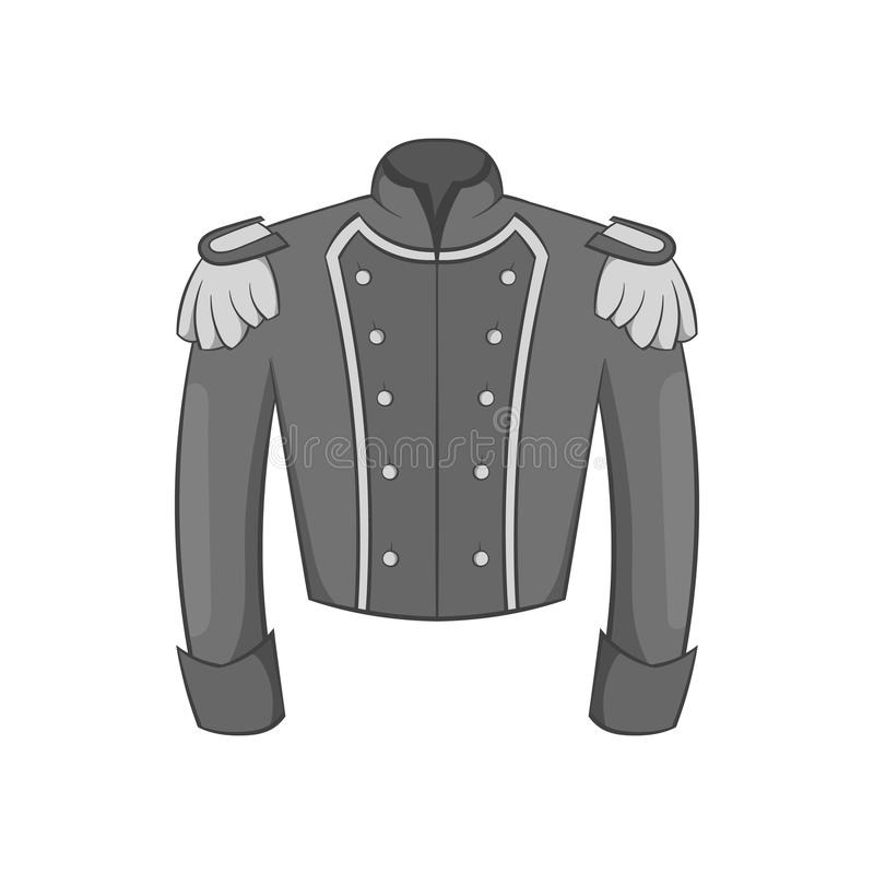Military Jacket Of Guards Icon Monochrome Style Stock Vector