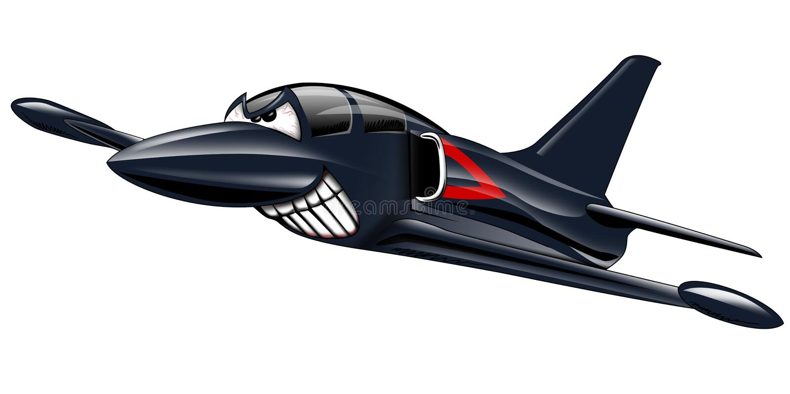 Military Jet Airplane Cartoon stock illustration