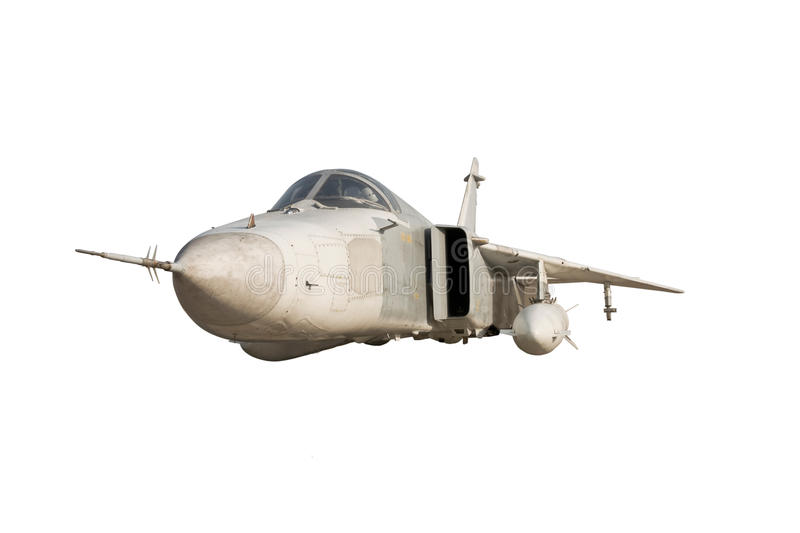 Military jet bomber Su-24. Fencer flying a white background stock photography