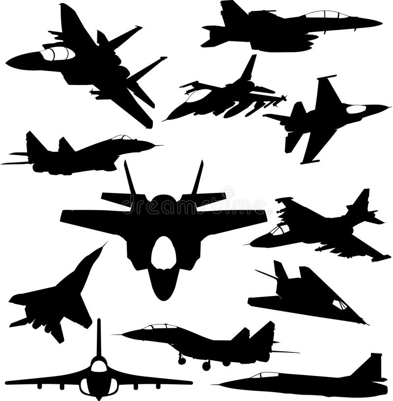 Free Military Jet-fighter Silhouettes Royalty Free Stock Photos - 45659198