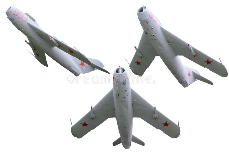 Military jet plane. Old soviet military jet plane on white background royalty free stock photo