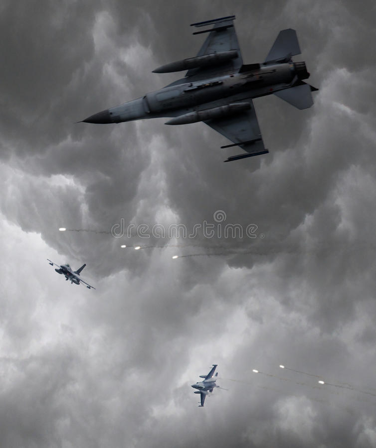 Free Military Jets Firing Of Flares, Selective Focus Stock Image - 74466011