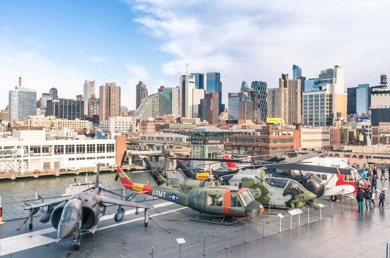 Military jets and helicopters inside Intrepid Sea, Air & Space Museum stock image