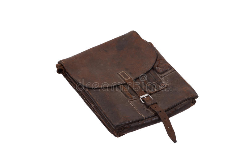 Military leather map-case of the german officer. Isolated on white royalty free stock image