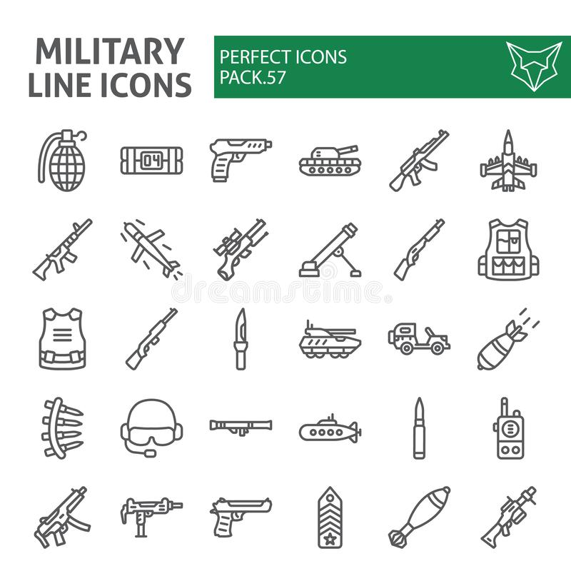 Military line icon set, war and army symbols collection, vector sketches, logo illustrations, weapon signs linear vector illustration