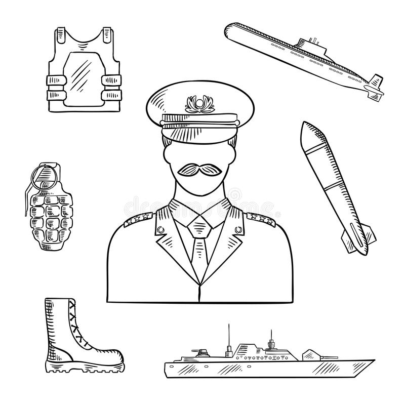 Military man with army symbols sketch icon. Military man in uniform sketch symbol with hand grenade, body armor and boots, naval warship, torpedo and submarine royalty free illustration