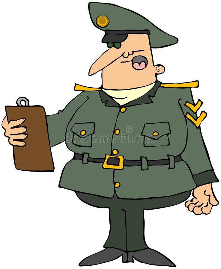 Military Man With A Clipboard stock illustration