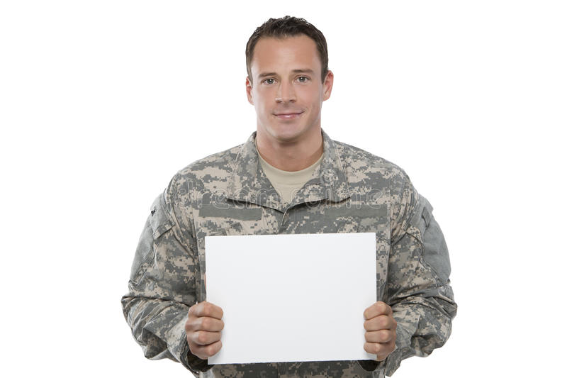 Download Military Man Holding Blank Sign Stock Image - Image: 25147029