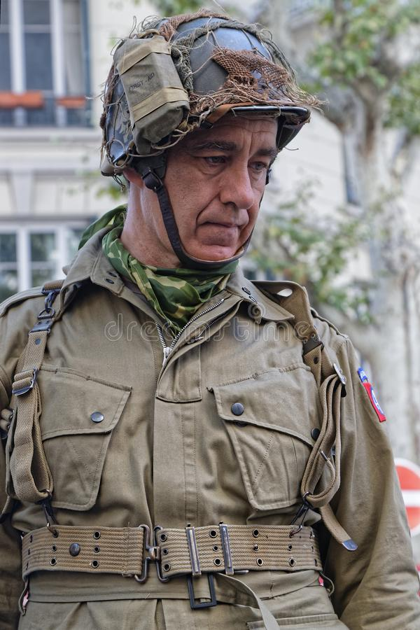 Military man in Lyon royalty free stock images