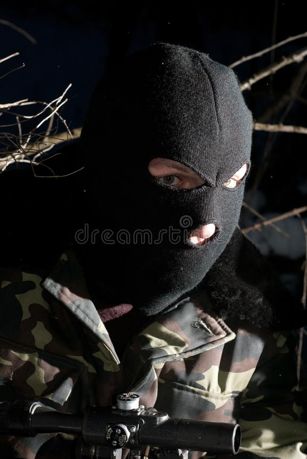 Download The military man in a mask stock photo. Image of authority - 18496018