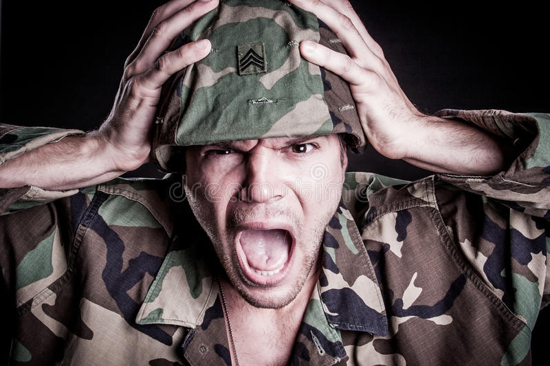 Military Man Screaming royalty free stock photo