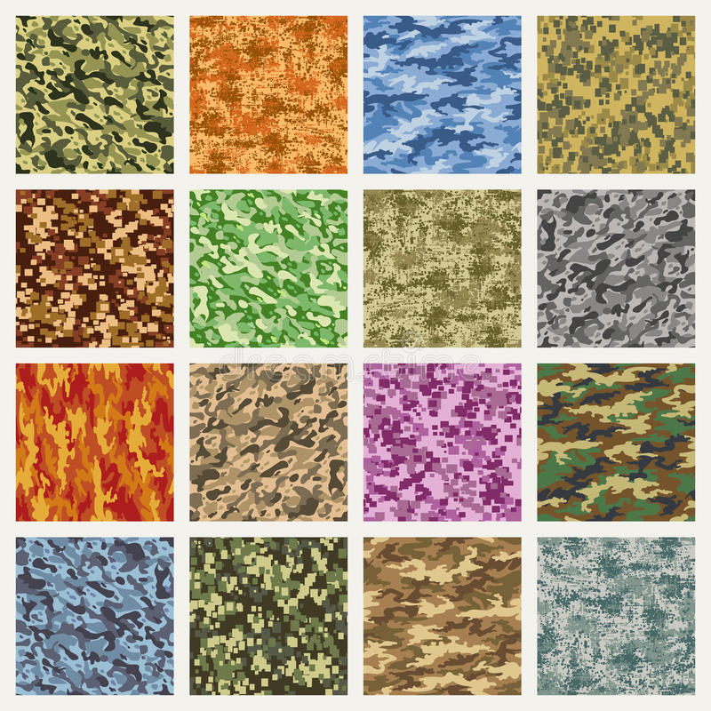 Military and marine uniform camouflage patterns stock illustration