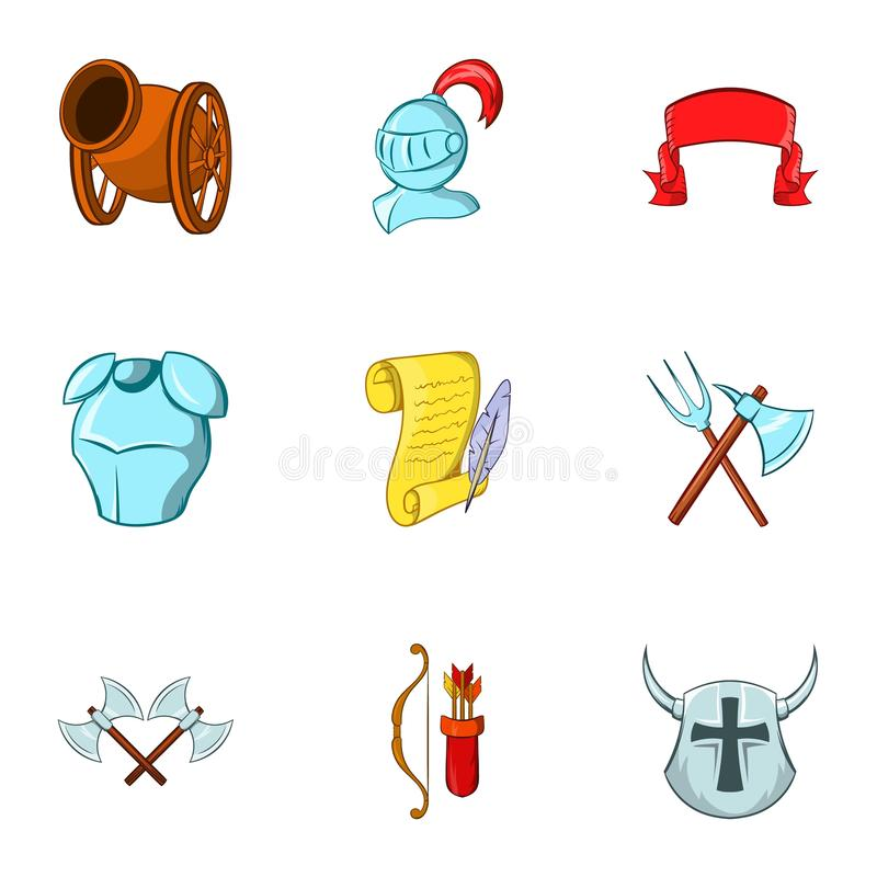 Military middle ages icons set, cartoon style. Military middle ages icons set. Cartoon illustration of 9 military middle ages icons for web stock illustration