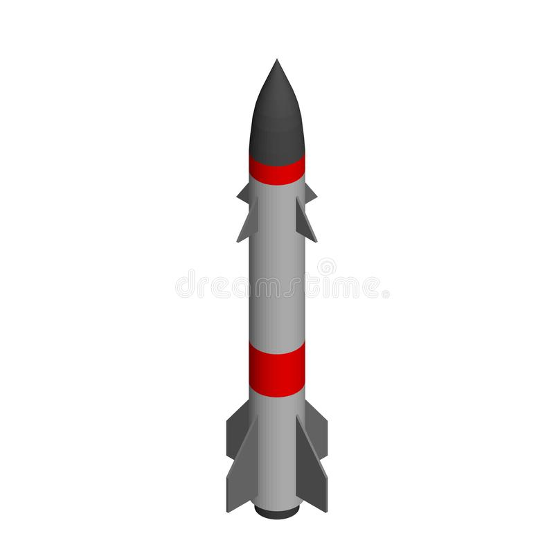 Military missile. Isolated on white background. 3d Vector illustration. Isometric projection royalty free illustration