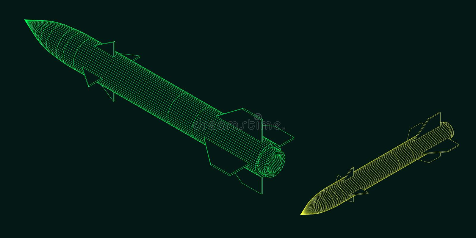 Military missile. Vector outline illustration. Isometric projection royalty free illustration