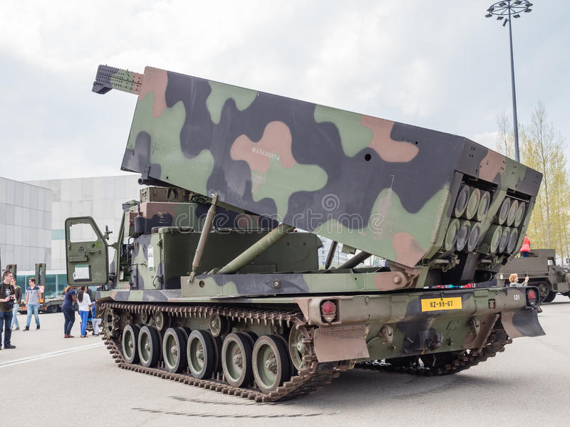 Military MLRS rocket launcher. ALMERE, NETHERLANDS - 23 APRIL 2014: A Dutch military multiple launch rocket system on display during the National Army Day in royalty free stock photos