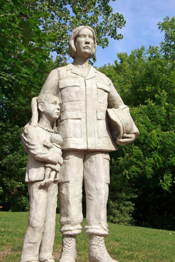 Military mom and daughter Statue. At Veterans memorial park in Hudsonville Michigan royalty free stock photos