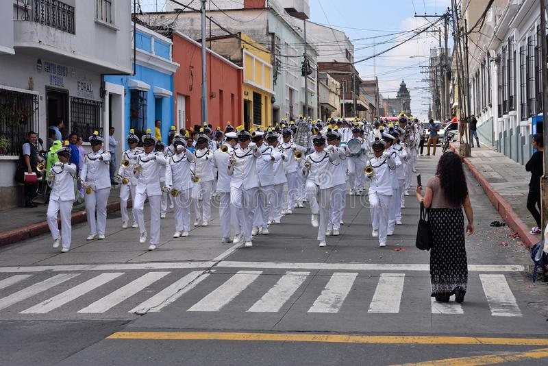 Military navy band. Partecipating in preparation of parade in honor of Guatemala Independance day. 16/09/2017. Guatemala city royalty free stock photography