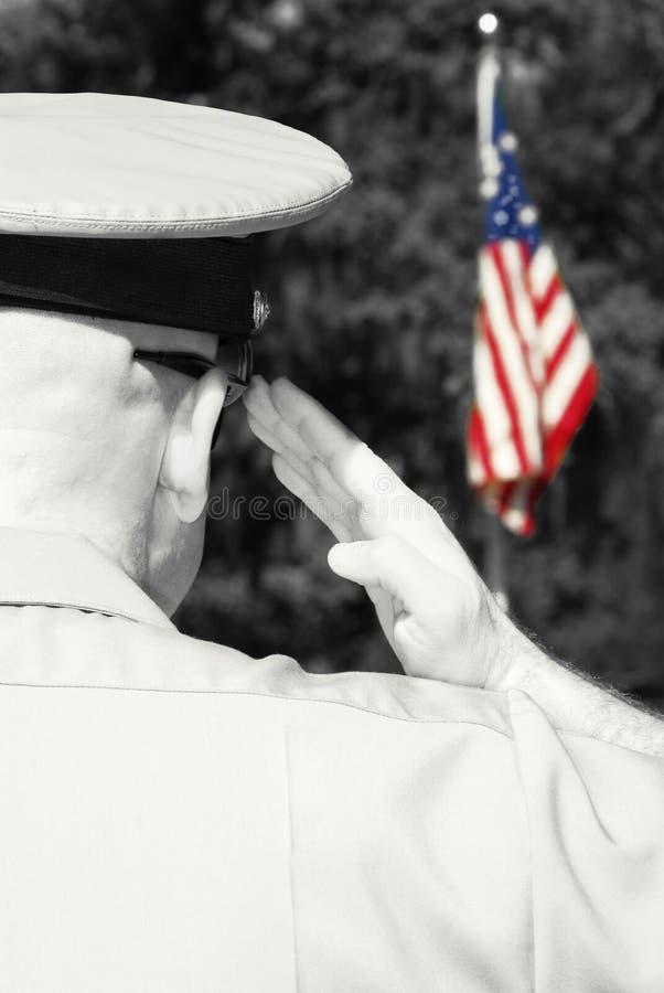 Military officer saluting flag stock photos