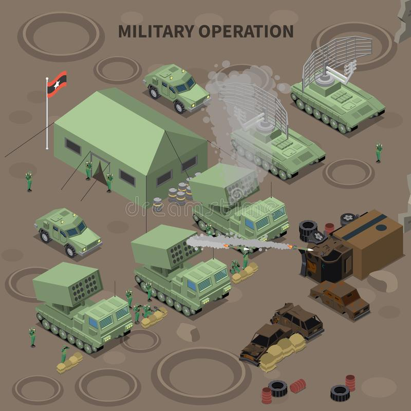 Military Operation Isometric Composition. With  tent for soldiers radar installation and rocket launchers vector illustration vector illustration